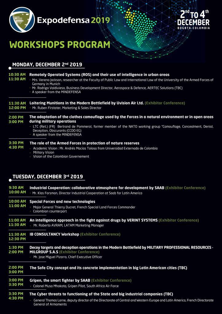 2019 Workshops program